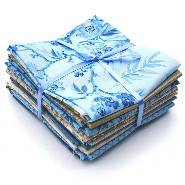 Andover Something Blue Fabrics by Edyta Sitar for Laundry Basket Quilts Fat Quarter Bundle-