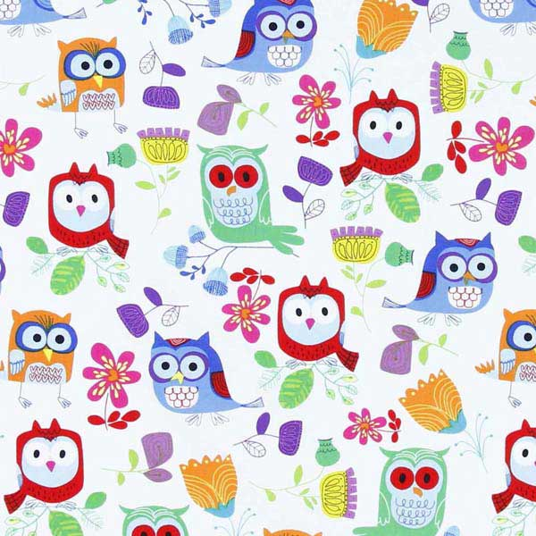 Cute owls patchwork fabric