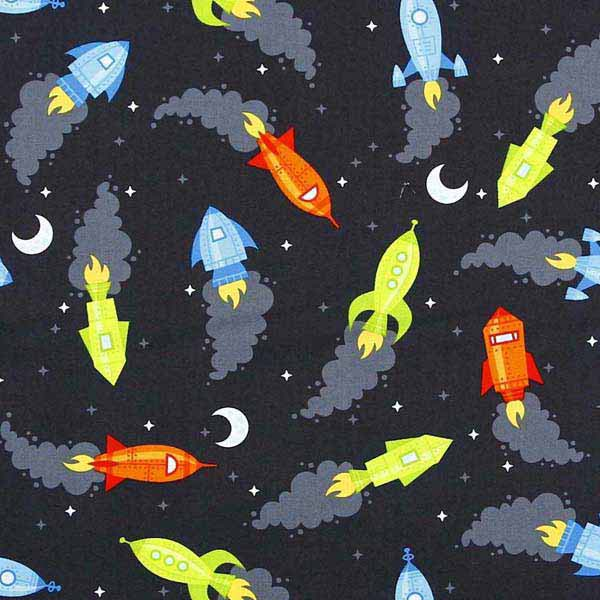 Childrens space rocket fabric