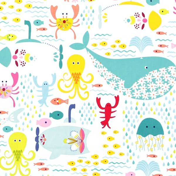 wales, octopus, jellyfish, lobster, sea fabric BLEND-MAUDE-ASBURY-GO-FISH-101.136.01.1