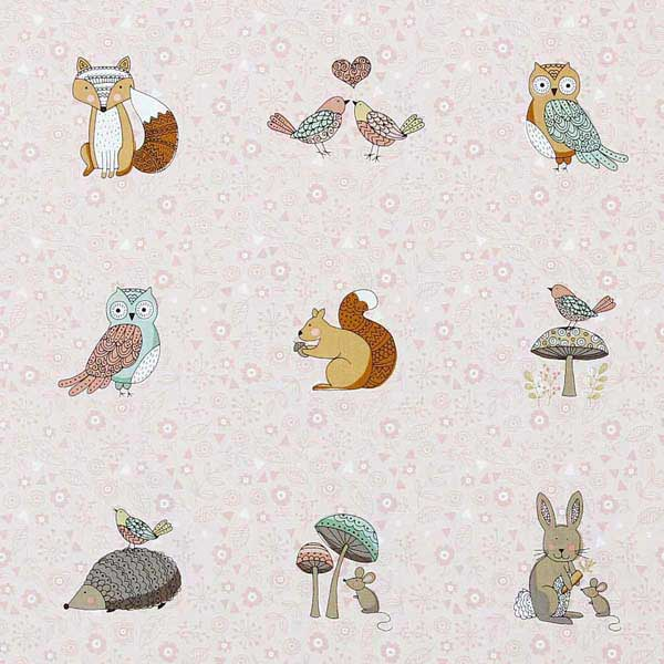 Cute owls squirrels hedgehogs rabbits patchwork fabric MAKOWER-DOODLE-DAYS-PLACEMENT-1871-P
