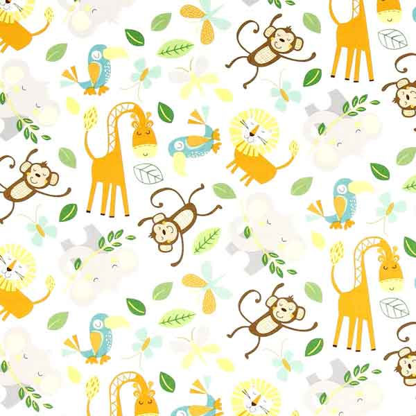Forest animals patchwork fabric