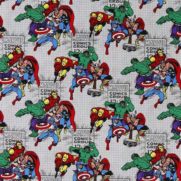 MARVEL COMICS AVENGERS PATCHWORK FABRIC NUTEX_MARVEL_AVENGERS_CP59496