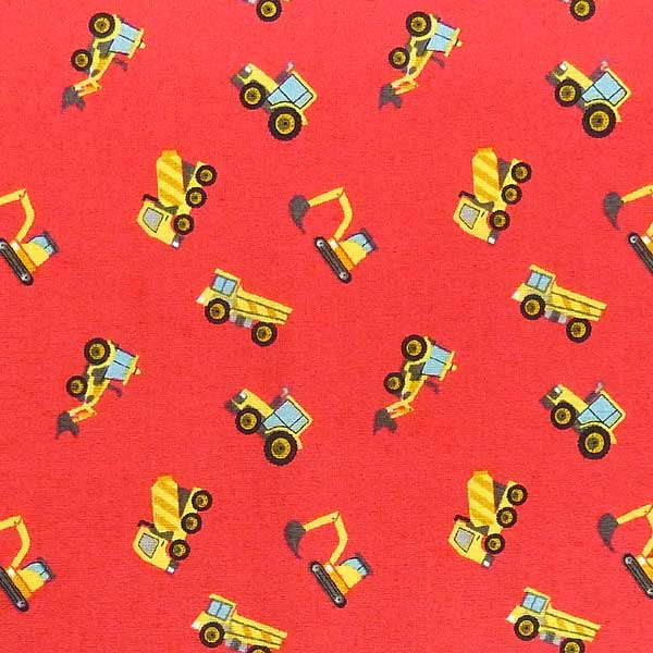 LEWIS-AND-IRENE-SMALL-THINGS-ON-THE-MOVE-SM11-2 RED BACKGROUND CONSTRUCTION TRUCK FABRIC