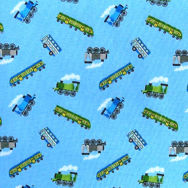LEWIS-AND-IRENE-SMALL-THINGS-ON-THE-MOVE-SM14-3 BLUE BACKGROUND TRAIN FABRIC