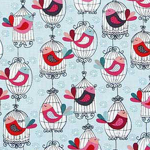 birds in cages fabric for patchwork