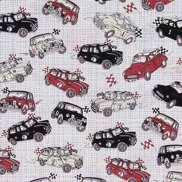 mini & morris minor fabric for patchwork