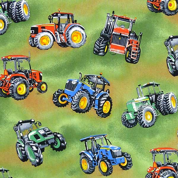 NUTEX-TRACTOR-TIME GREEN BACKGROUND TRACTOR FABRIC
