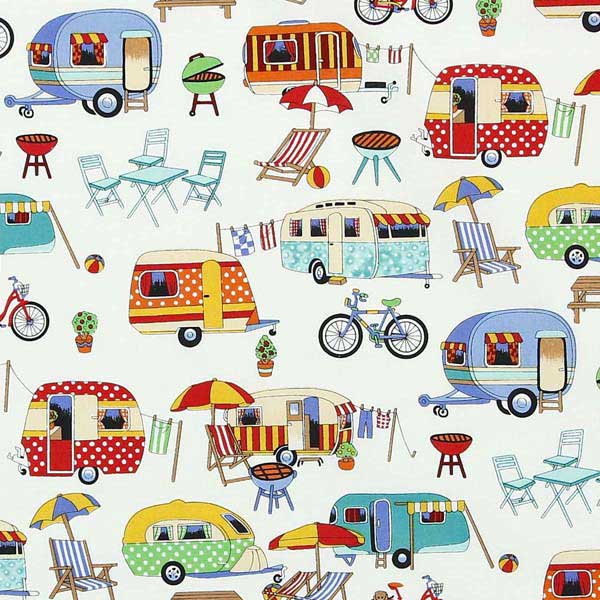 caravan camping themed fabric for patchwork