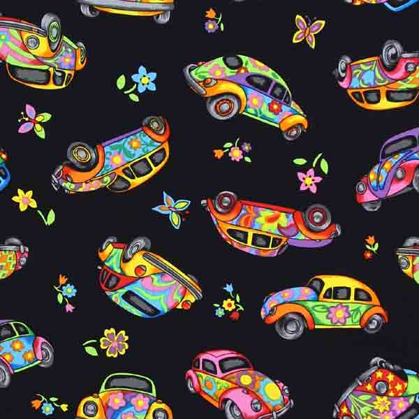 vw beetle fabric for patchwork