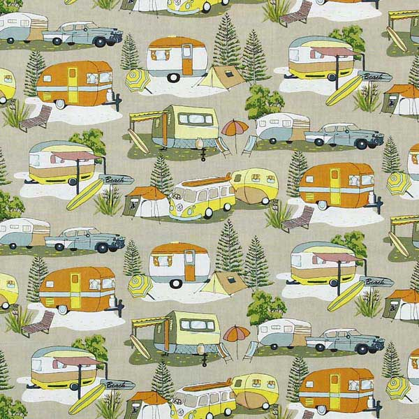 camping themed fabric for patchwork