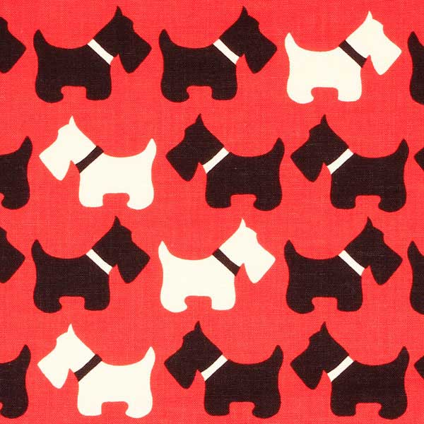 BLACK AND WHITE ON RED SCOTTIE DOGS