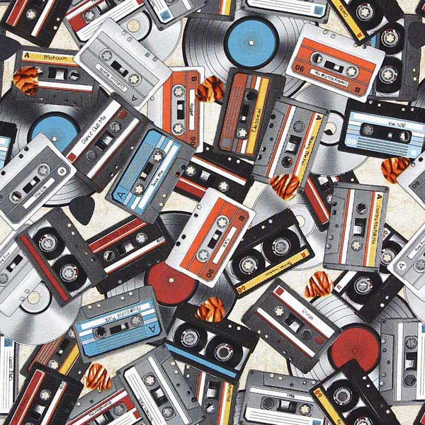 audio tape cassettes patchwork fabric RJR_ALL_AMPED_UP_2237-1