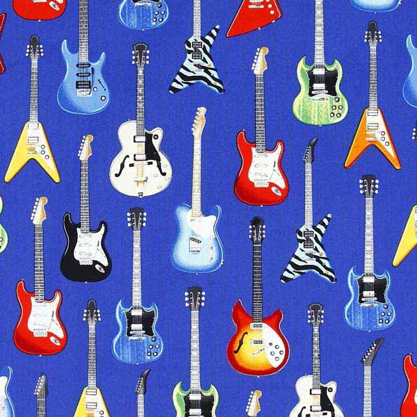 ELECTRIC GUITAR FABRIC - ROBERT_KAUFMAN_IN_TUNE_SRK-15662-4_BLUE