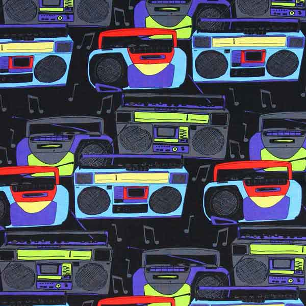 radio cassette ghetto blaster patchwork quilt fabric TIMELESS_TREASURES_C9429_BLACK