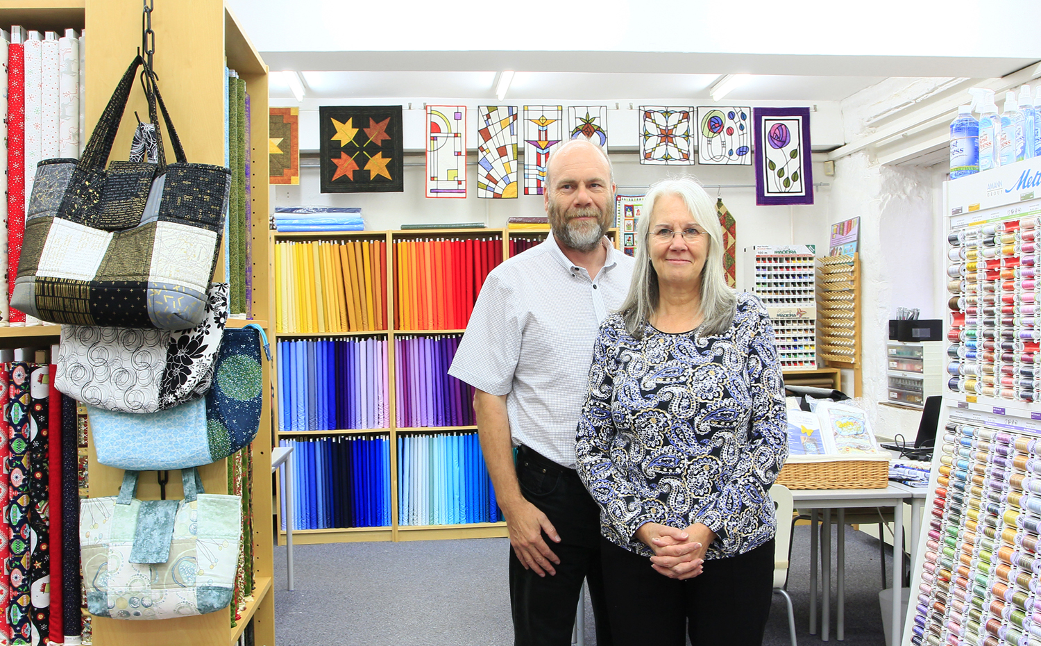 Ann and Darren Mayner are the owners of Quiltessential in Cromford Derbyshire