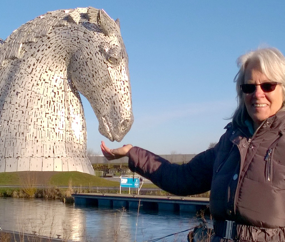 Ann Mayner of Quiltessential at The Kelpies in Falkirk Scotland