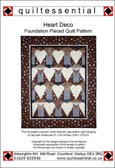 Heart Deco patchwork quilt pattern
