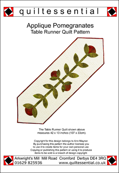 Pomegranate applique table runner quilt pattern